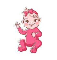 cute bagirl infant blond smiling toddler vector image