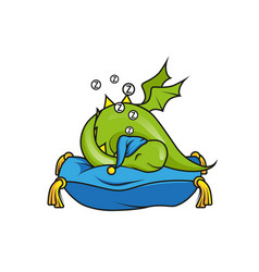cute little dragon sleeping on the pillow vector image
