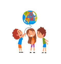 cute little kids holding balloon in shape of vector image
