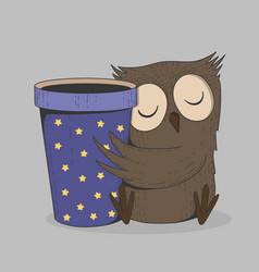 Cute owl with coffee cup sleeping bird cartoon vector