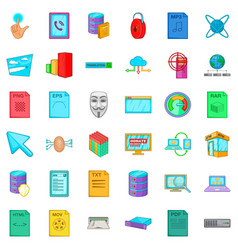 Different file icons set cartoon style vector
