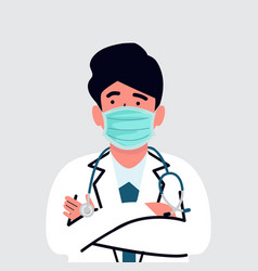 Doctor with stethoscope medical flat style vector