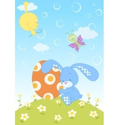 Easter bunny with egg vector