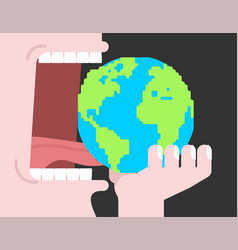 Eating earth planet open mouth teeth and tongue vector