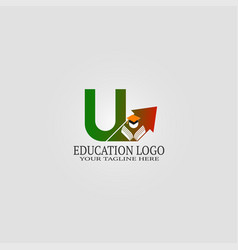 Education logo template with u letter logo vector