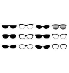 eyeglasses silhouettes set vector image