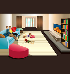 Family watching television at home vector