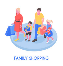 family with purchases isometric composition vector image