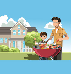 father and son doing barbecue vector image