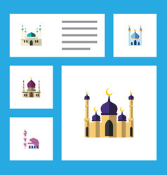 Flat icon minaret set of traditional building vector