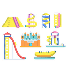flat of water park with various vector image