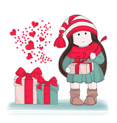 Gift from heart merry christmas color vector