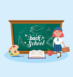 girl students with blackboard and book with art vector image