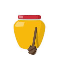 Glass jar full honey and stick dipper on white vector
