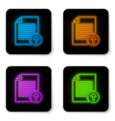 glowing neon upload file icon isolated on white vector image