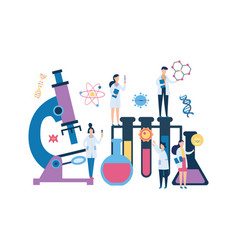 group biology scientist people and huge laboratory vector image