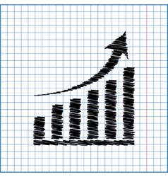 growing graph icon with pen effect on paper vector image
