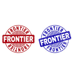 Grunge frontier scratched round stamps vector