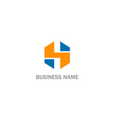 h initial shape colored business logo vector image
