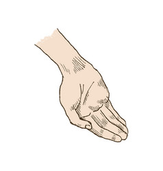 Hand asking posture one hand on top of other pop vector