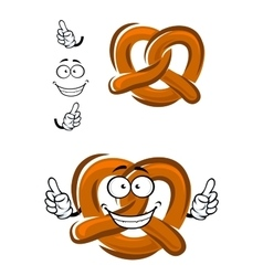 Happy cartoon bavarian crispy pretzel vector