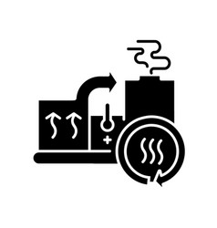Heat recovery system black glyph icon vector