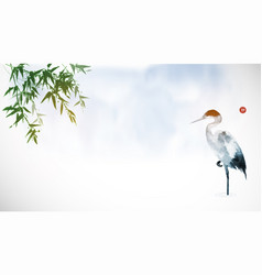 heron and bamboo leaves in fog traditional vector image