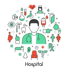 Hospital Medical Thin Line Icons Set with Doctor vector image