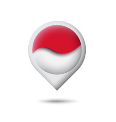 Indonesia flag icon in shape pointer map vector
