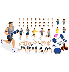 isometric create sporty inflated man hairstyles vector image