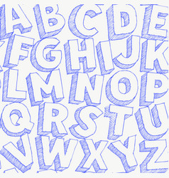 large blue pen letters hand drawn alphabet vector image