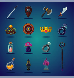 legendary asset set of magic items and resource vector image
