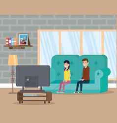 living room flat image design vector image