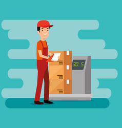 Logistic services with delivery worker vector