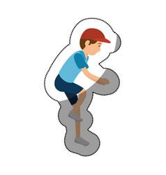 Man athlete practicing climbing avatar character vector