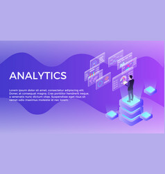 man with virtual panel analyzing statistics vector image