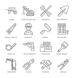 Monochrome Construction Icons Set vector