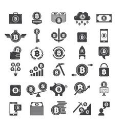 monochrome symbols of virtual money electronic vector image