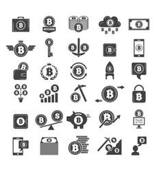 monochrome symbols virtual money electronic vector image