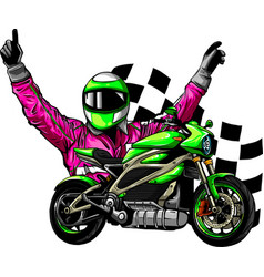 Motorbike rider with face flag vector