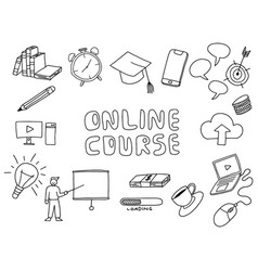 Online course doodle art with paper background vector