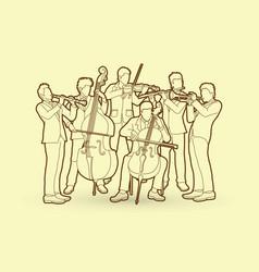 orchestra player group of musician vector image