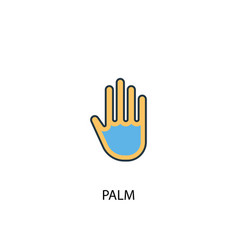 palm concept 2 colored line icon simple yellow vector image