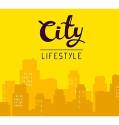 Panorama of big city with header on yello vector