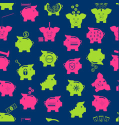 piggy bank seamless pattern background vector image