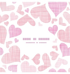 Pink textile hearts center frame seamless pattern vector
