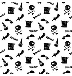 Pirate doodles seamless pattern cute pirate items vector