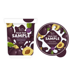 plum yogurt packaging design template vector image