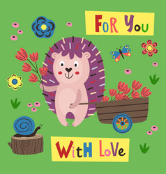 Poster with a colorful hedgehog and a cart vector