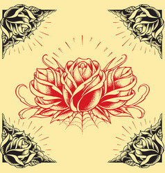 Roses and Frame Tattoo style design vector